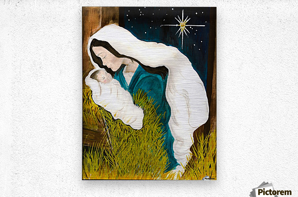 Unto us a Child is Born - Mary and Baby Jesus  Metal print