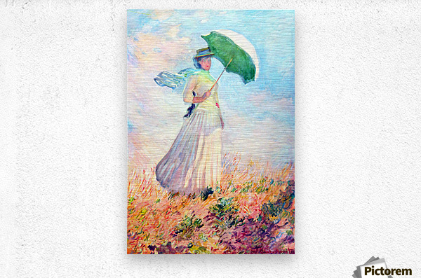 Lady with sunshade, study by Monet  Metal print