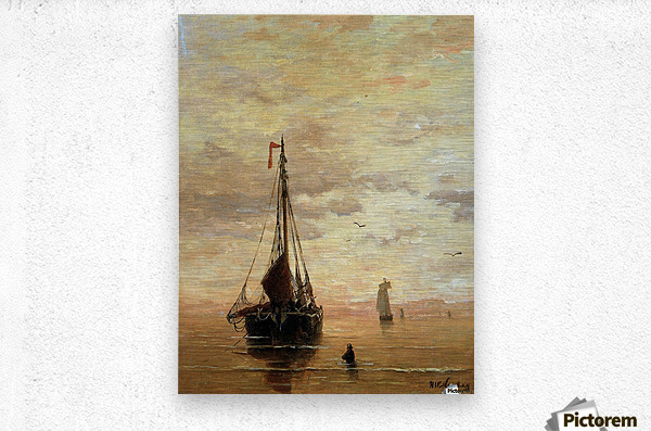 Ships On A Calm Sea Near The Coast Sun  Metal print