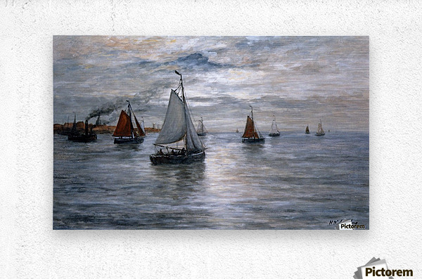 Sailing ships at Scheveningse coast  Metal print