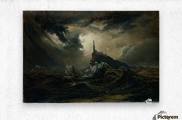 Sturmische See mit Leuchtturm  Metal print