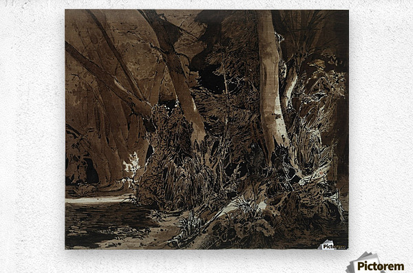 Forest landscape with flowing water and two hunters  Metal print