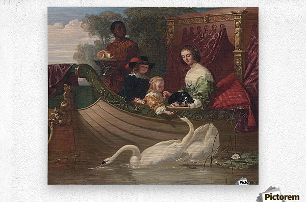 A young family feeding a swan  Metal print