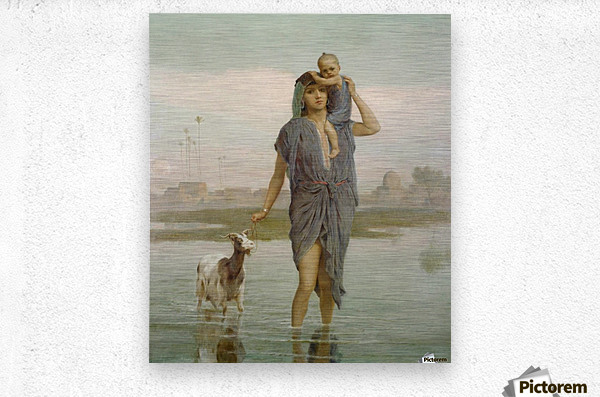 A young mother and a goat  Metal print