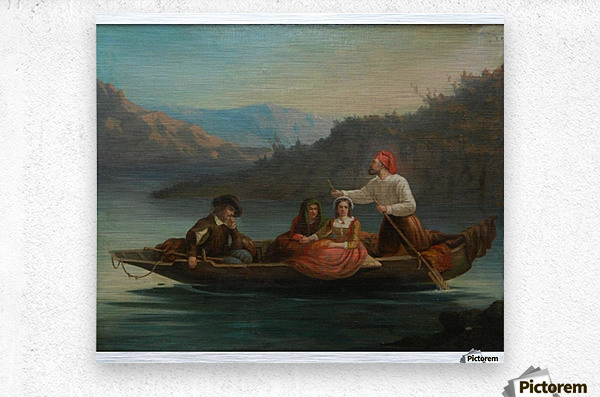 Crossing the river with a boat  Metal print