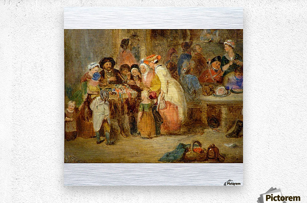 Antique oil painting  Metal print