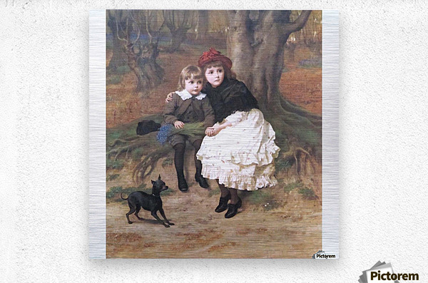 Two children and their dog  Metal print