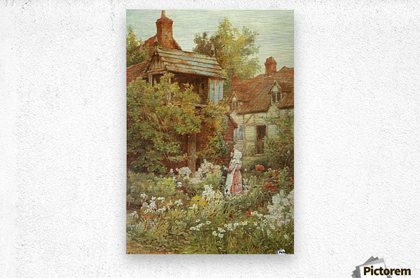 A young girl starring by the house  Metal print