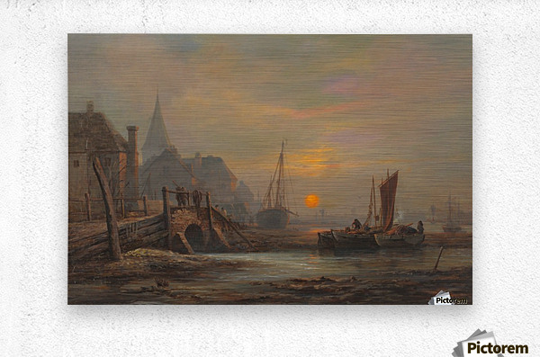 Sunset in a port  Metal print