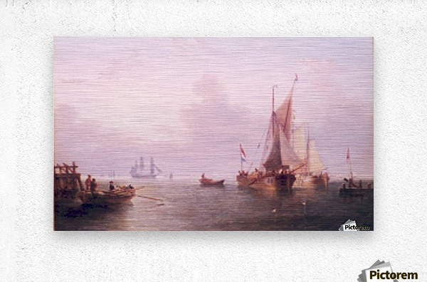 Shipping off a Dutch Port  Metal print