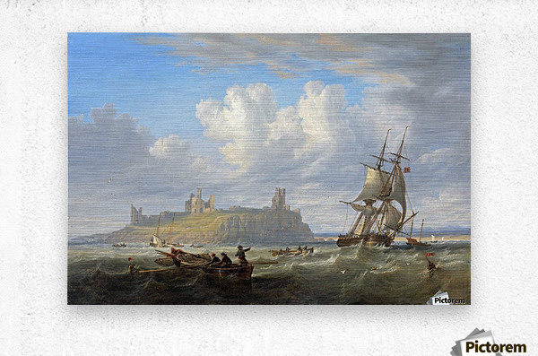 Shipping off Dunstanborough Castle, Northumberland 1844  Metal print