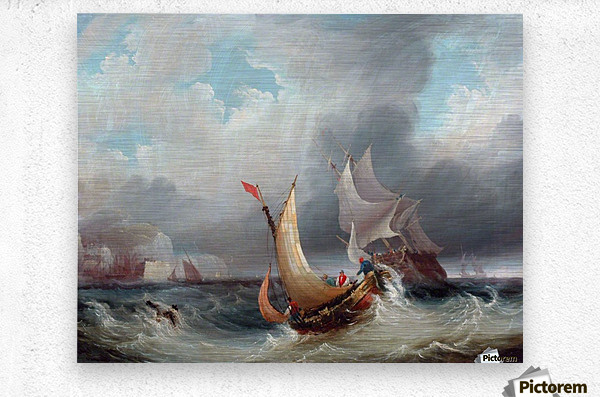 Shipping Offshore in a Stormy Sea  Metal print