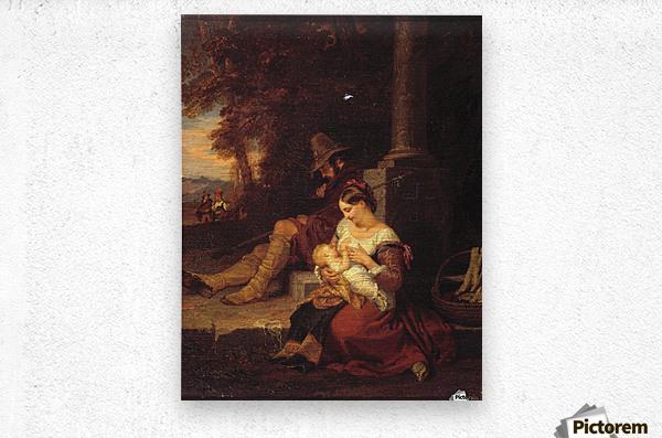 Pilgrims Reposing at a Cross  Metal print
