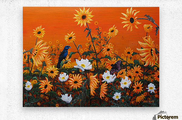 Sunflowers & Prickly Poppies  Metal print