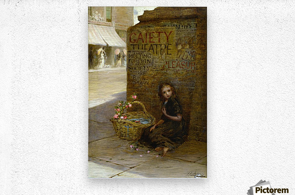A little girl selling flowers  Metal print