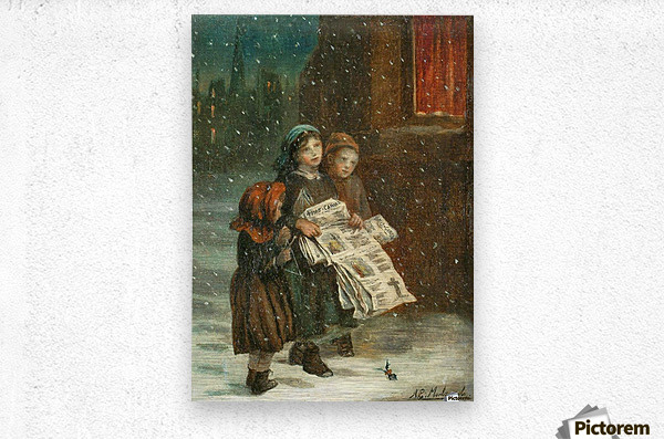 Small children with newspapers  Metal print