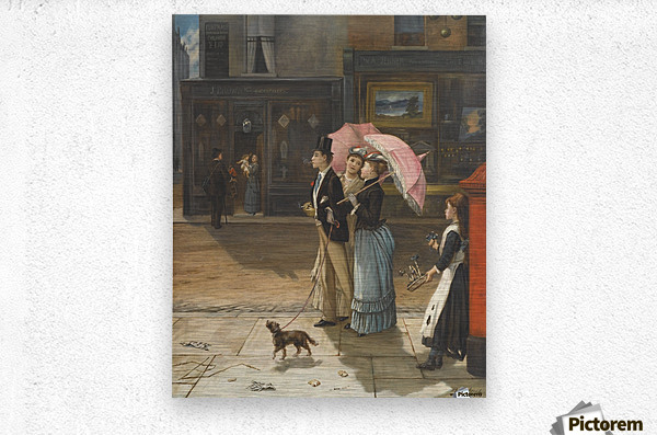 A young family walking the dog  Metal print