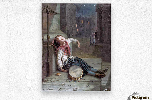 A child sleeping in the moonlight  Metal print