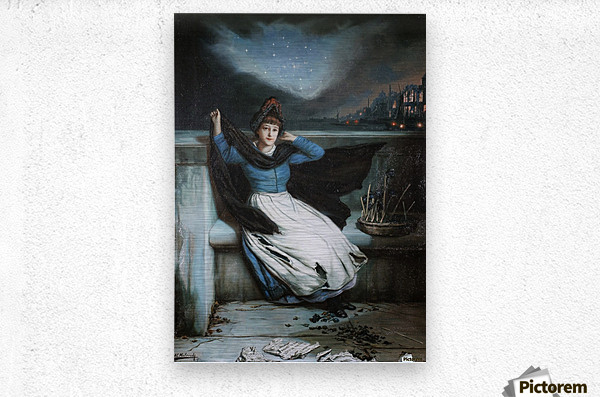 A woman in a blue dress at the edge of a city  Metal print