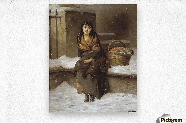 A woman in the snow with a grocery basket  Metal print