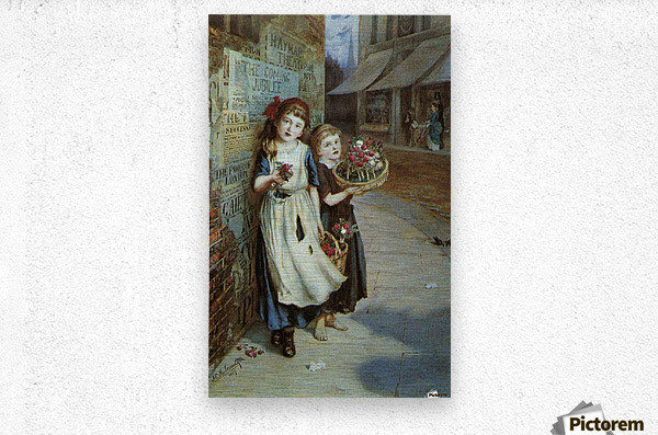 Little Flower Sellers  Metal print