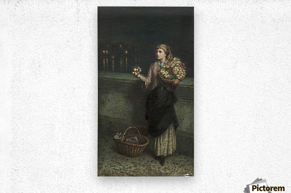 Selling flowers on a bridge in the night time  Metal print