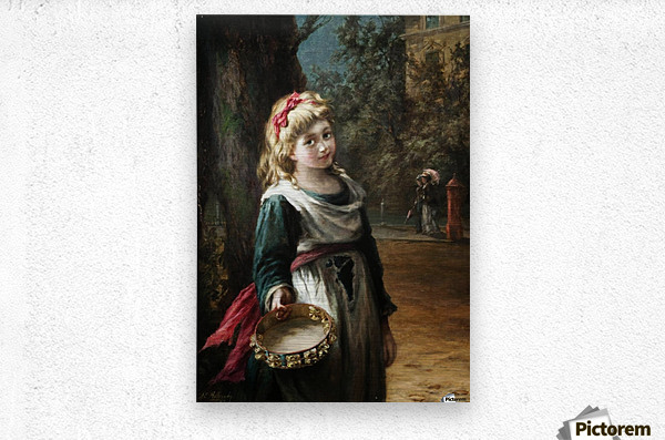 A young blonde girl  Metal print
