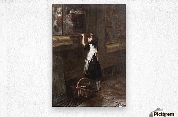A girl in a black dress  Metal print