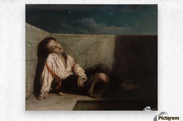A boy sleeping on the London bridge  Metal print