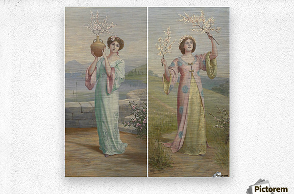 Two youg fairies  Metal print