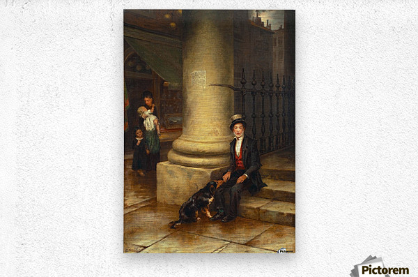 A family and a dog  Metal print