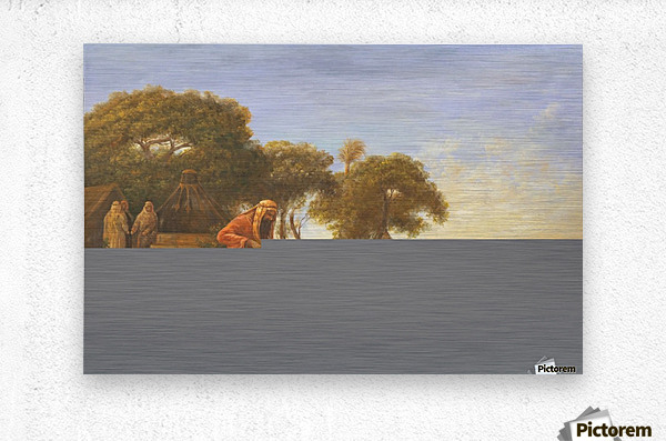 Arab encampment with trees in the back  Metal print