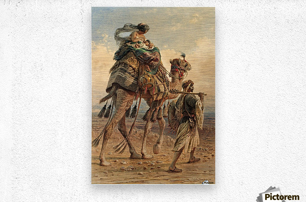 A family crossing the desert  Metal print