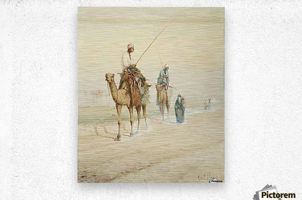 Arab travellers on an egyptian road  Metal print