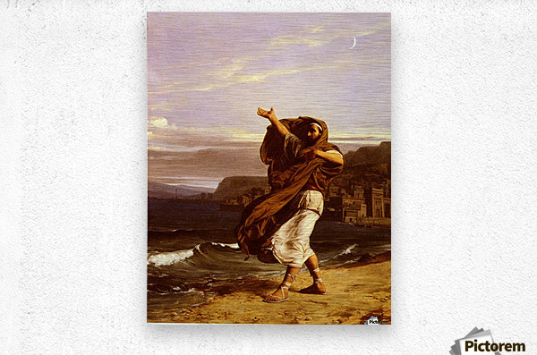 A young man in the wind  Metal print