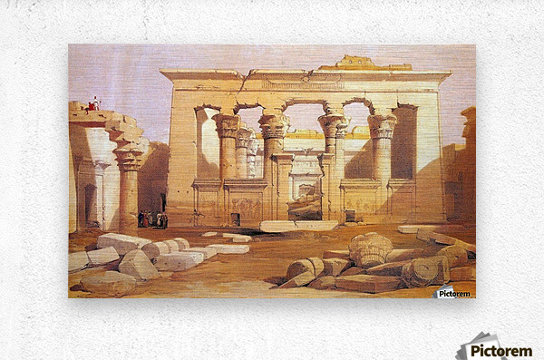 Ancient Egyptian civilization ruins with figures  Metal print