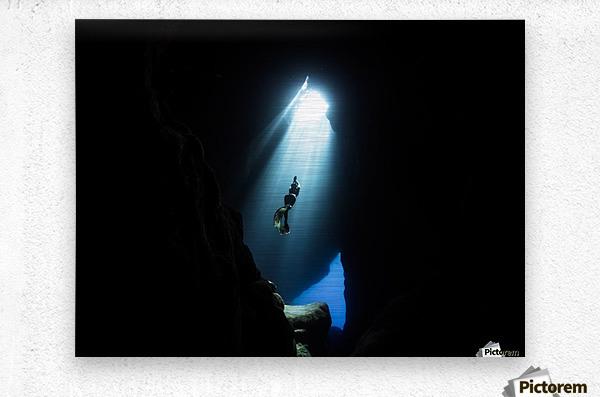 Dark cave  Metal print