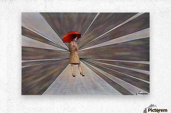 Limessia - beauty with umbrella  Metal print