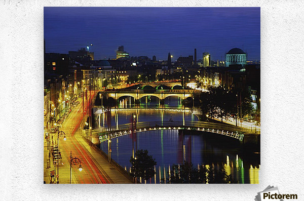 Dublin, Co Dublin, Ireland; View Of The River Liffey At Nighttime  Metal print