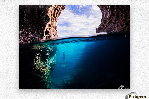 Cave diving  Metal print