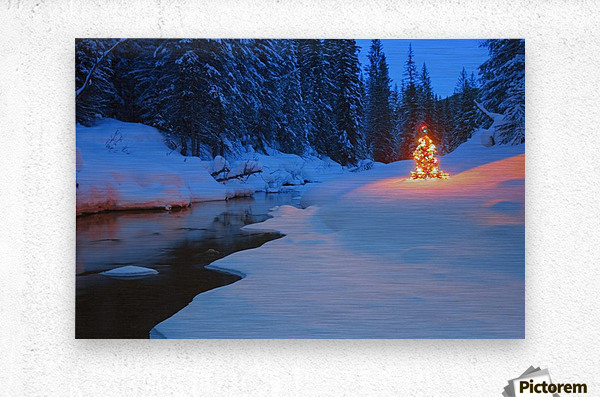 Glowing Christmas Tree By Mountain Stream  Metal print