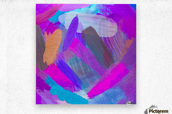 pink brown purple blue painting abstract background  Metal print