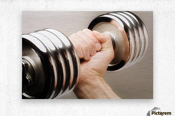 Lifting Weights  Metal print