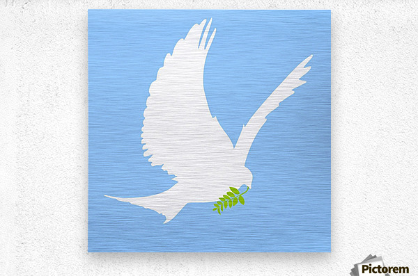Dove And Olive Branch  Metal print