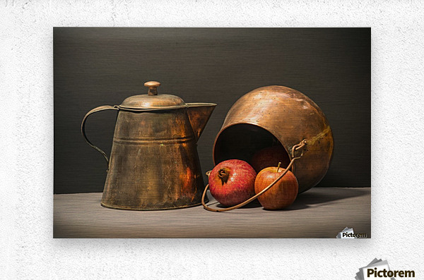 Copper Pots Pomegranate Apple  Metal print