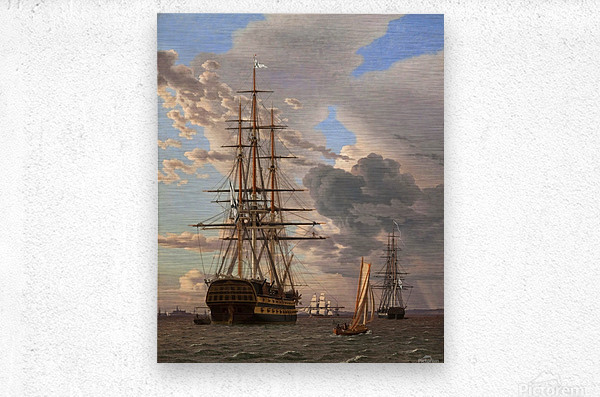 A Russian ship of the Line Asow and a Frigate at Anchor in the Roads of Elsinore  Metal print