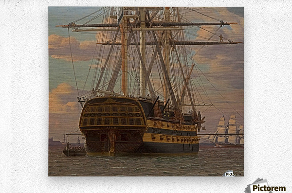 The Russian ship of the line Asow and a frigate at Anchor in the Roads of Elsinore  Metal print