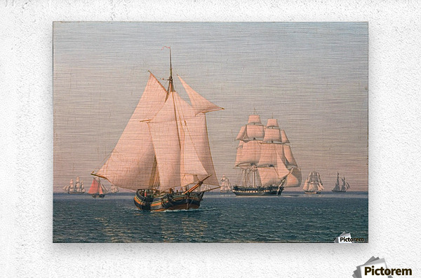 Ships under sail in mild breeze on clear summer afternoon  Metal print