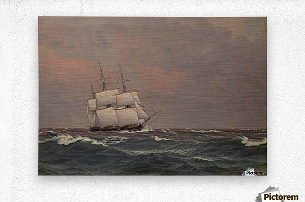 The corvette Najaden in rough seas  Metal print