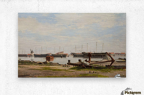 View of the wharf at Nyholm with the crane and some warships  Metal print